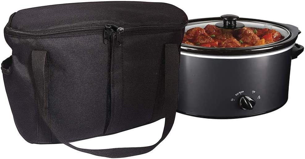 "Slow Cooker Bag, Round-Shaped Insulated Carrier Bags Compatible with 4, 5, 6, 7 & 8 Quart Crockpot, Black Thermal Tote Bag with Handle Openings for Rice & Pressure Cookers (L: 16.5""x8.6""x9.4 "")"