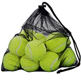 OMorc Pressureless Tennis Balls - 12 Balls with Mesh Carrying Bag - Great For Lessons, Practice, Throwing Machines & Playing With Pets