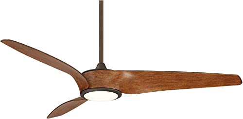 56″ Casa Como Bronze and Koa LED Ceiling Fan