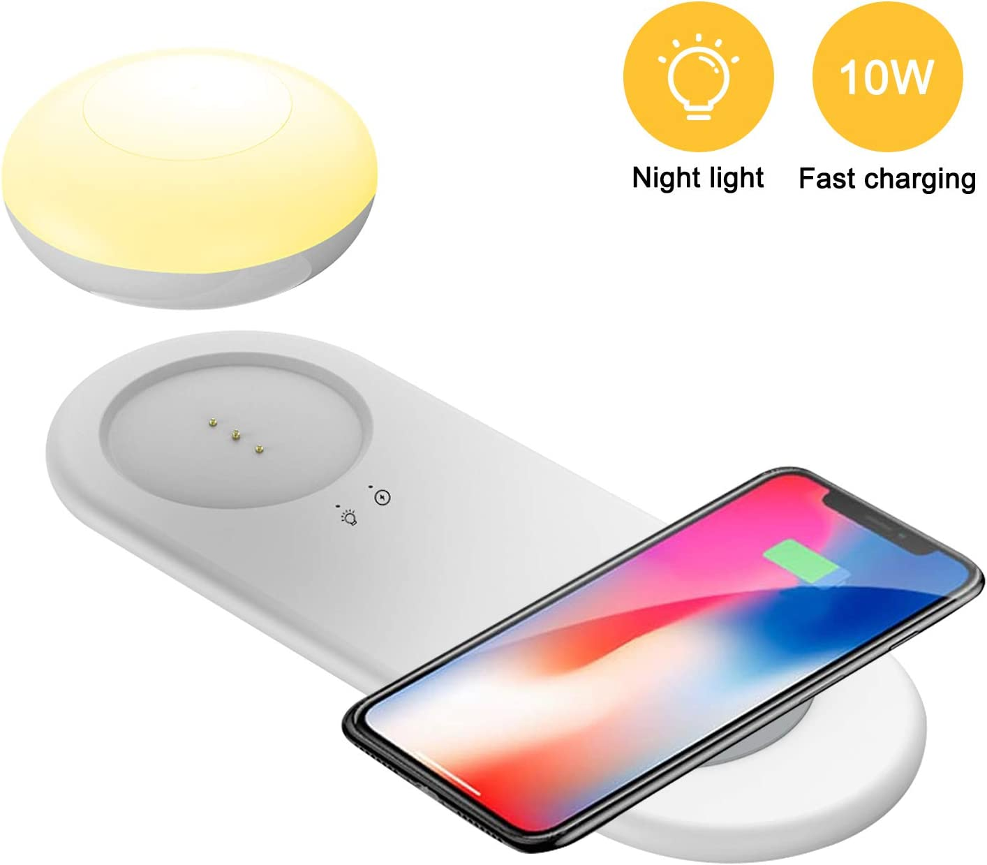 Qi-Certified 10W Fast Safe Wireless Phone Charging Pad with Eye Protection lamp Used for Bedroom Compatible with iPhone 11 Pro Max//XS Max Wireless Phone Charger with Night Light Galaxy Note Series