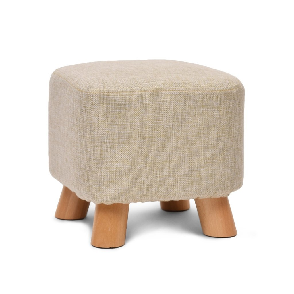 PM-Folding Stools Small Stool Solid Wood + Cloth Creative Square Stool, Wooden Bench Color Optional (Color : Gray)