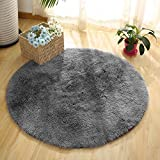 Super Soft Fluffy Nursery Rug From YOH Grey Rugs for Bedroom Home Area Decor Round (4' Diameter)