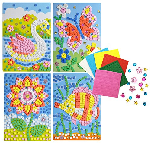 (Mosaics Flower Fish Butterfly Swan cute 4 pattern design craft sticker)