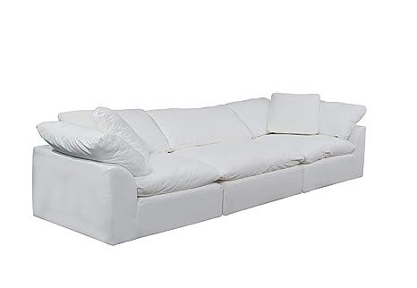 Pleasing Sunset Trading Cloud Puff 3 Piece Modular Performance White Sectional Slipcovered Sofa Creativecarmelina Interior Chair Design Creativecarmelinacom