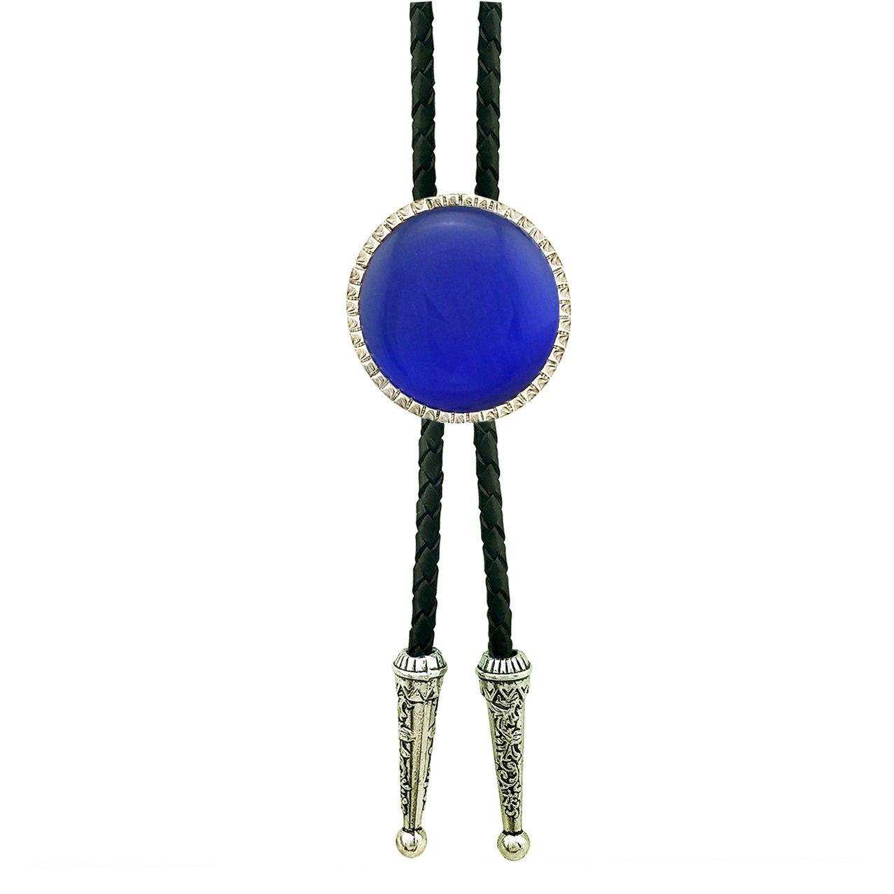 SELOVO Royal Blue Stone Rhinestone Genunie Leather Bolo Tie Silver Tone