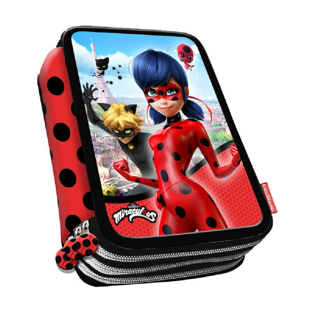 Lady Bug Miraculous- Ladybug Estuche portatodo plumier, Color Rojo, 21 cm (Karactermanía 33651)