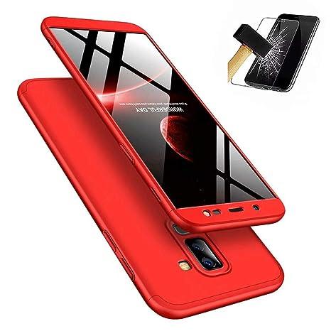 Funda Samsung Galaxy J6 2018 360°Caja Caso + Vidrio Templado Laixin 3 in 1 Carcasa Todo Incluido Anti-Scratch Protectora de teléfono Case Cover para ...