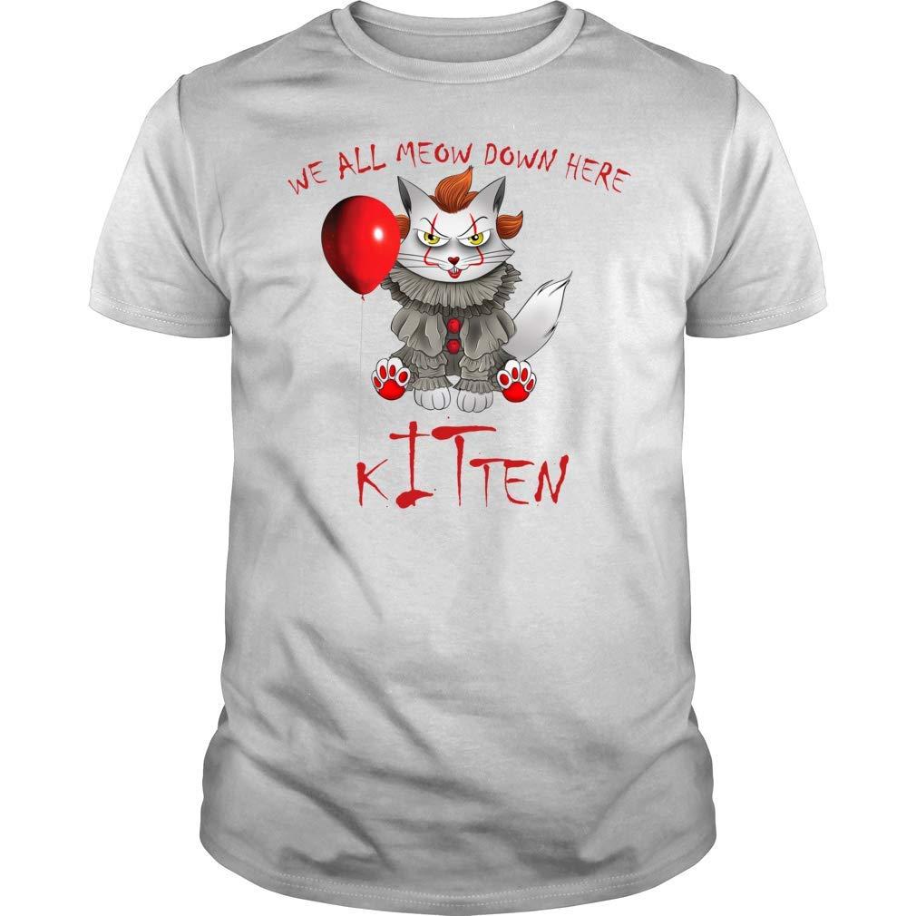 We All Meow Down Here Clown Cat Kitten T Shirt Premium Halloween Shirt Gift