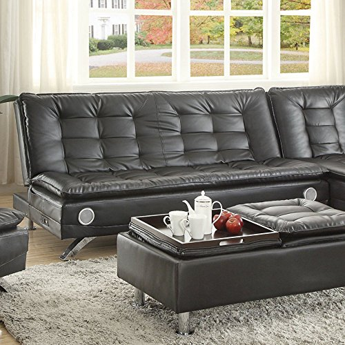 Coaster Erickson Collection 508061 73.5″ Sofa Bed with Bluetooth Speakers and Power Strip with USB in Black Faux Leather