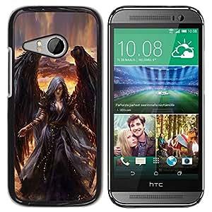 PC/Aluminum Funda Carcasa protectora para HTC ONE MINI 2 / M8 MINI Death Drawing Black Wings Witch / JUSTGO PHONE PROTECTOR