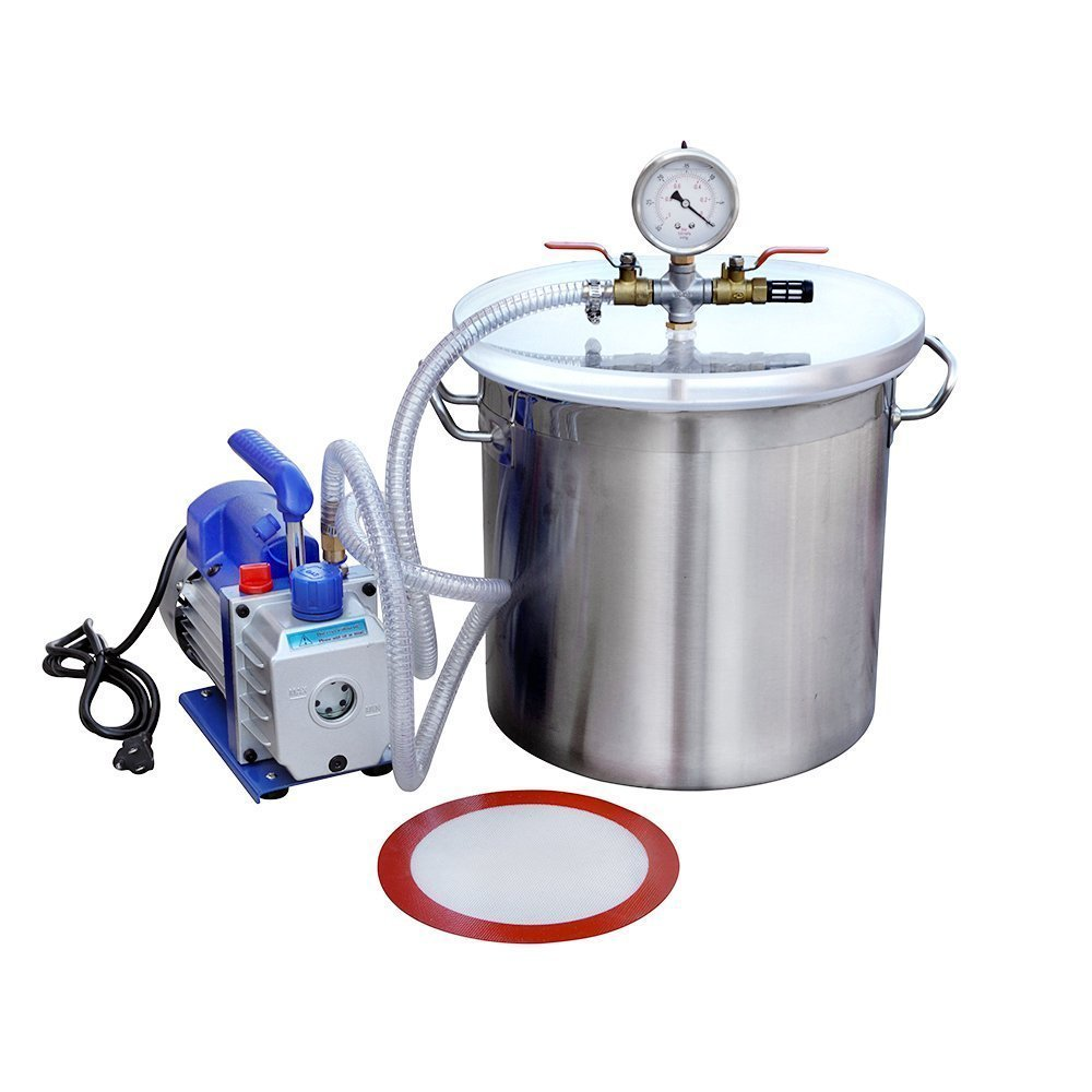 ECO-WORTHY 5 Gallons Vacuum Degassing Chamber Kit with 3 CFM Single Stage Pump Kit Stainless Steel