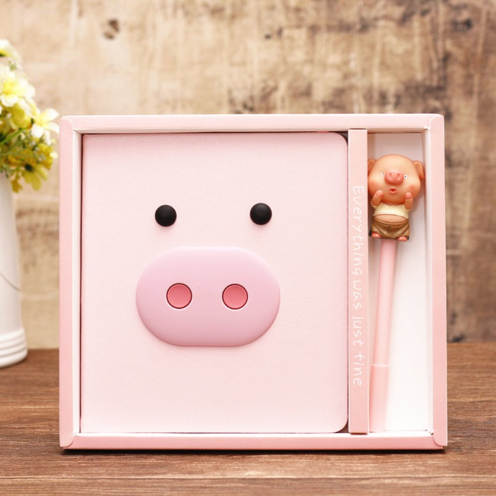DPIST Trendy Pink Pig Journal Notebook Pen Set -Lovely Pink Pig Gifts For girls