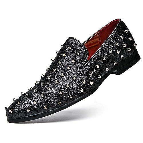 Hombres Mocasines Bling Brillantes Lentejuelas Hombres Vestido Zapatos Italianos Hechos a Mano Slip-on Zapatos para Fiesta de Boda: Amazon.es: Zapatos y ...
