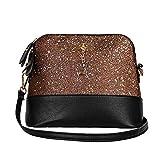 Clearance Sale! ZOMUSAR Women Fashion PU Leather Zipper Splice Handbag Shoulder Shell Bag Shiny Crossbody Tote Bag (Coffee)