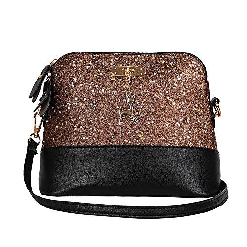 (Clearance Sale! ZOMUSAR Women Fashion PU Leather Zipper Splice Handbag Shoulder Shell Bag Shiny Crossbody Tote Bag (Coffee))
