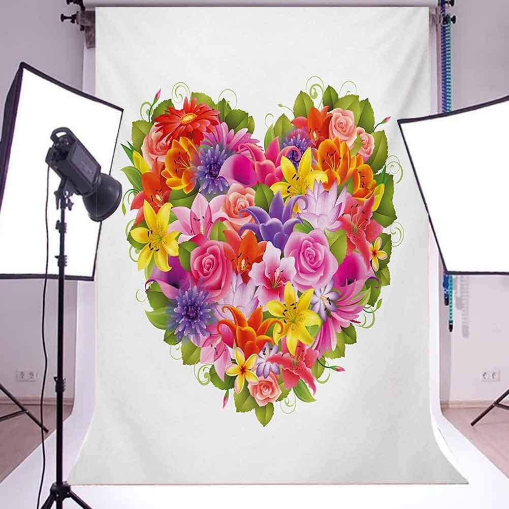 Valentines Day 6.5x10 FT Backdrop Photographers,Heart Frame with Shabby Chic Flowers Roses Leaves Romantic Love Theme Image Background for Baby Birthday Party Wedding Vinyl Studio Props Photography