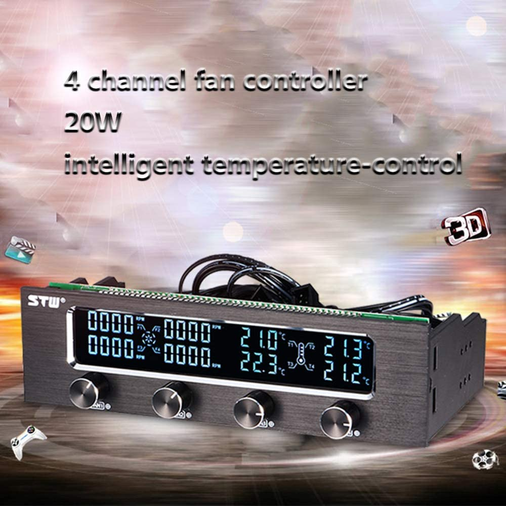 Artboy STW Multi-Function PC CPU 4 Channel Fan Controller Speed Control Adjuster LCD Cooling Front Panel