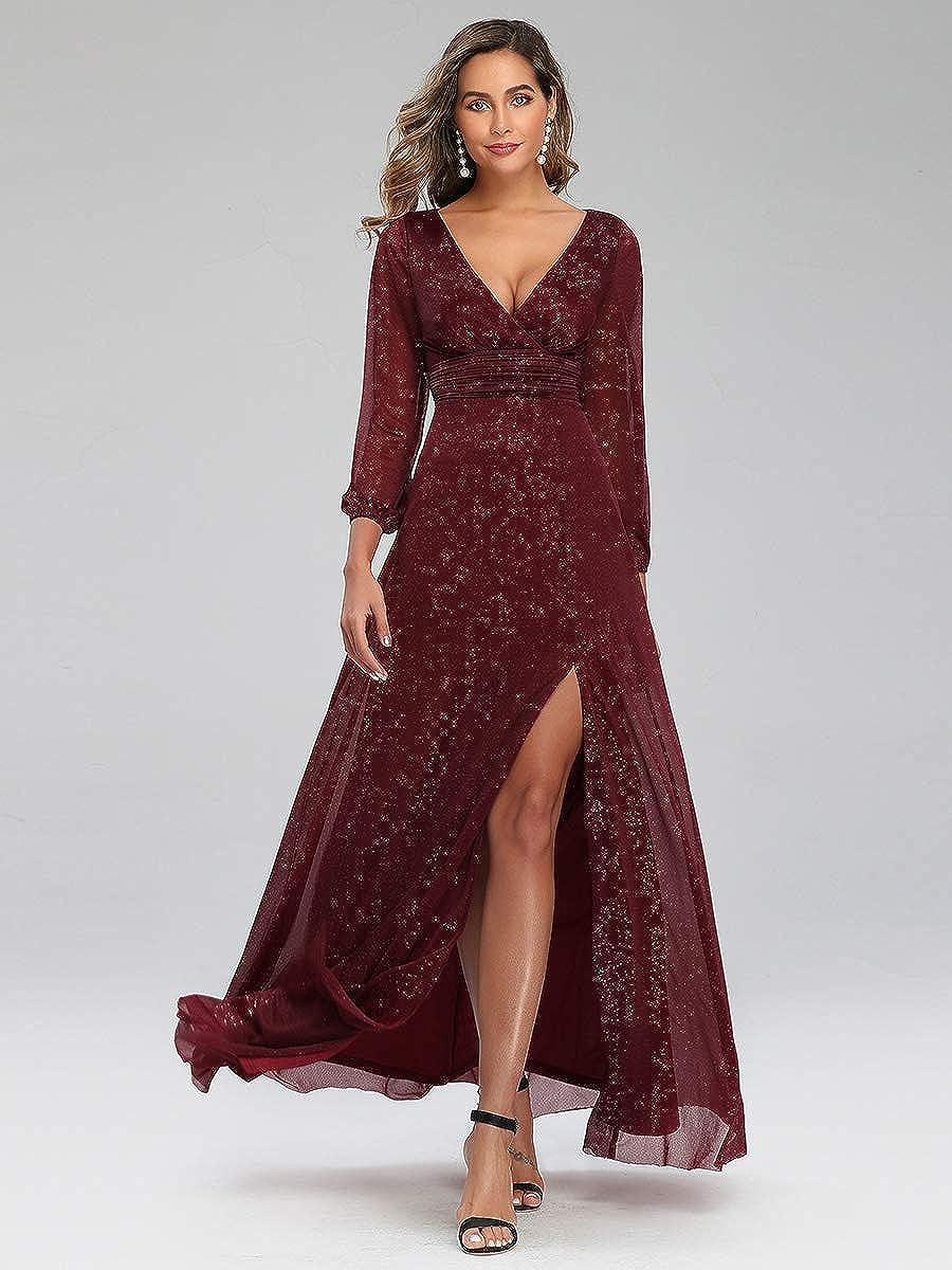 Ever-Pretty Vestito da Cerimonia Donna Scollo a V Linea ad A con Spacco Manica Lunga 00739