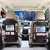 OMORC Universal asiento trasero coche bolsa de almacenamiento organizadores Multipurpose uso Piel Sintética Kick Mat impermeable Asiento Protector De Espalda (2)