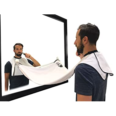 Beard Hair Catcher, Beard Cape Apron for Shaving and Grooming with Suction Cups for Mirror, White. By Captain Jax