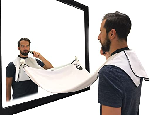 Beard Hair Catcher, Beard Cape Apron for Shaving and Grooming with Suction Cups for Mirror, White.