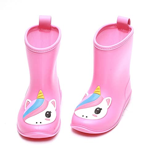 1ea831ccc9c56 DKSUKO Toddler Kids Rain Boots Waterproof Cartoon Yellow Rubber Booties  Ankle Short Rain Shoes for Baby Girl Size 6-13