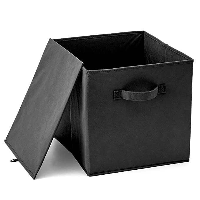 EZOWare Set Of 4 Foldable Fabric Basket Bins, Collapsible Storage Cube For  Nursery Home And Office   Black (13 X 15 ...