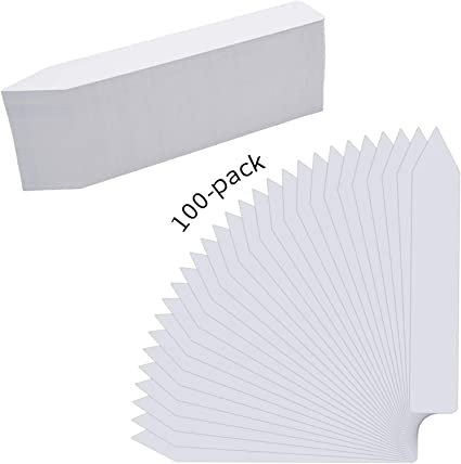 Tray Tags ~FREE SHIPPING~ 100 WHITE 5 x 58 Plastic Plant Labels