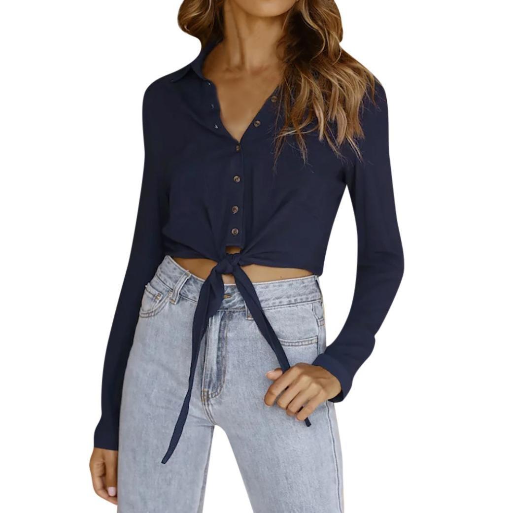 Spbamboo Women Lace Up Hight Waist Casual Button Long Sleeve Blouse T Shirt Tops