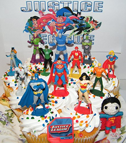 Justice League Deluxe Cake Toppers Cupcake Decorations Set of 14 with 12 Figures, DC Doll, JL ToyRing featuring Batman, Superman, Wonder Woman, Darkseid Etc.