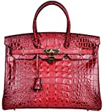 Cherish Kiss Women's Luxury Embossed Crocodile Leather Tote Office Padlock Handbags (30CM, Red wine)