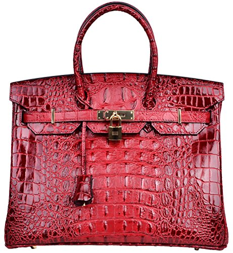 Cherish Kiss Women's Luxury Embossed Crocodile Leather Tote Office Padlock Handbags (30CM, Red wine) by Cherish Kiss