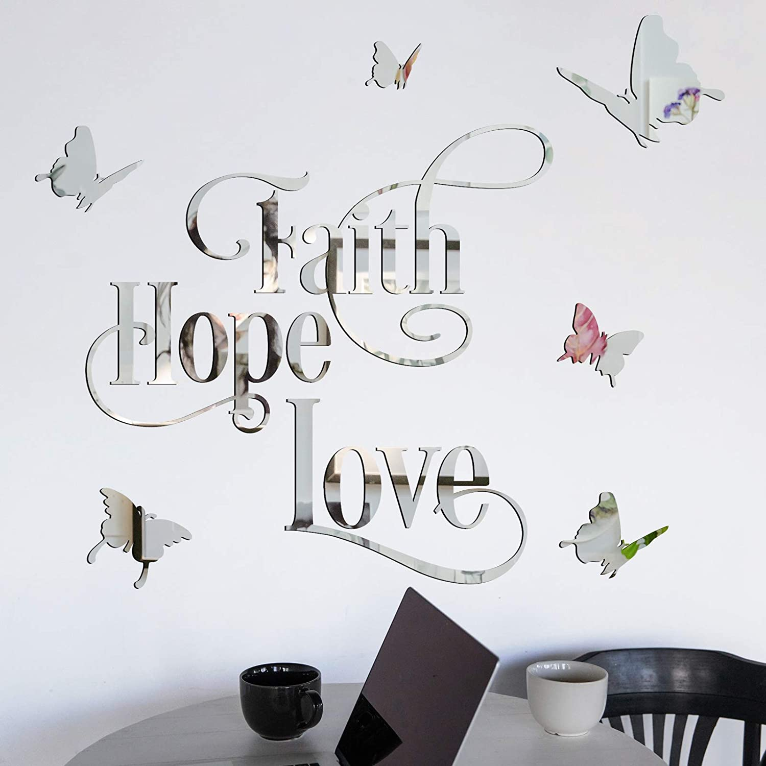 Faith Hope Love 3D Silver Acrylic Mirror Wall Decor Stickers, HOLENGS 3D Butterfly Mirror Surface Removable Motivational Letter Wall Decals, Crystal DIY Wall Decoration for Home Living Room Bedroom