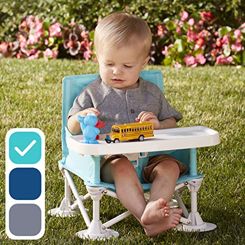hiccapop Omniboost Travel Booster Seat with Tray for Baby | Folding Portable High Chair for Eating, Camping, Beach, Lawn, Grandma's