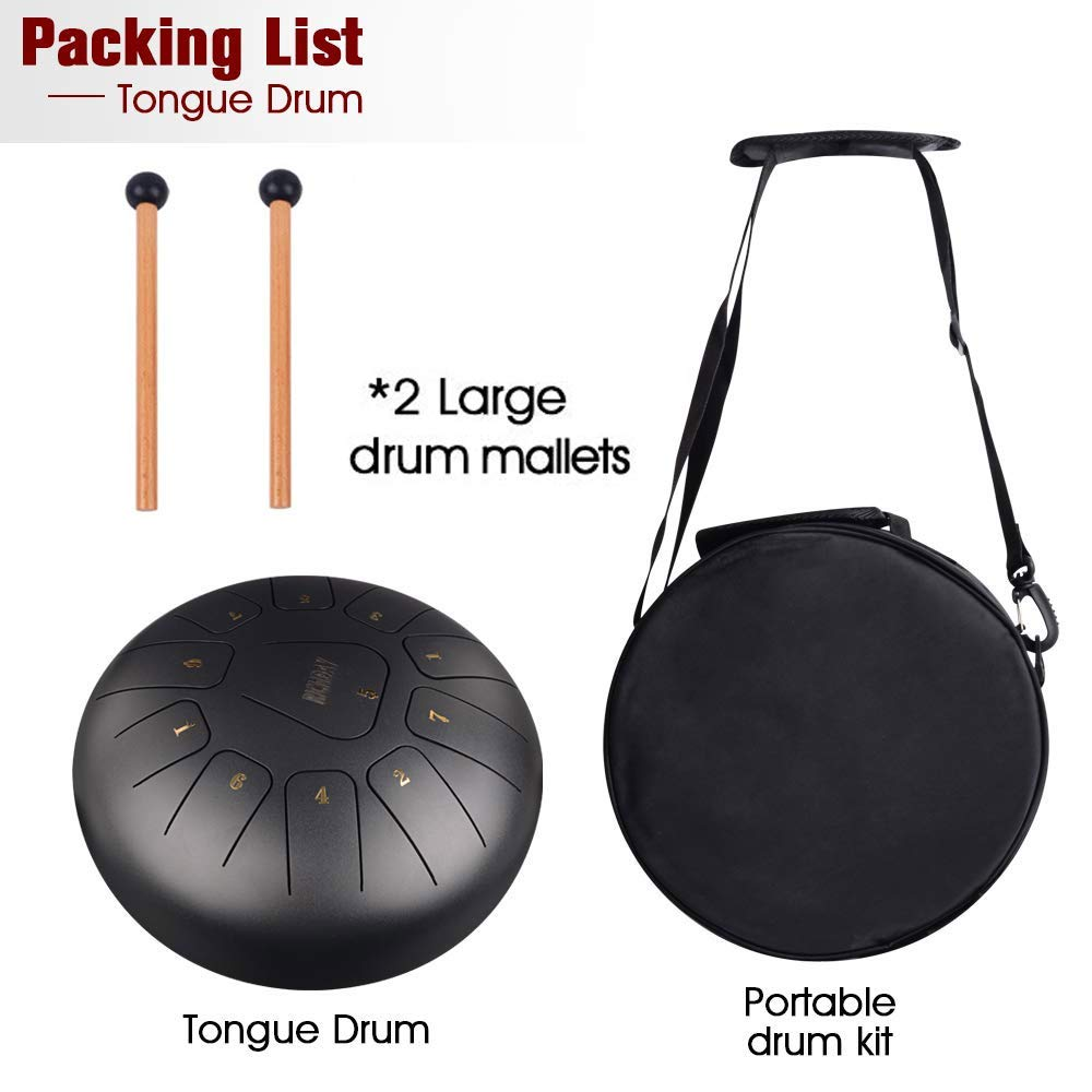 Richday Mini Tongue Drum Steel Percussion Hang Drum 11 Notes 10 Inches with Padded Travel Bag by Richday (Image #6)