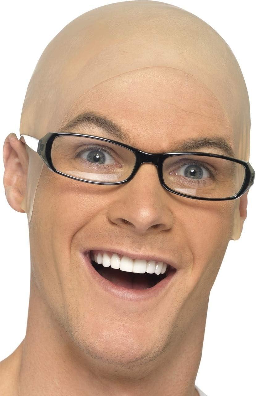 Fake Bald Head Skinhead Baldy Mens Ladies Fancy Dress Wig Skull Cap Halloween