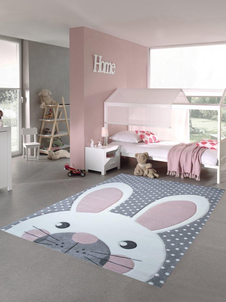 Kinderteppich Spielteppich Teppich Kinderzimmer Babyteppich Hase in Rosa Weiss Grau Größe 140x200 cm