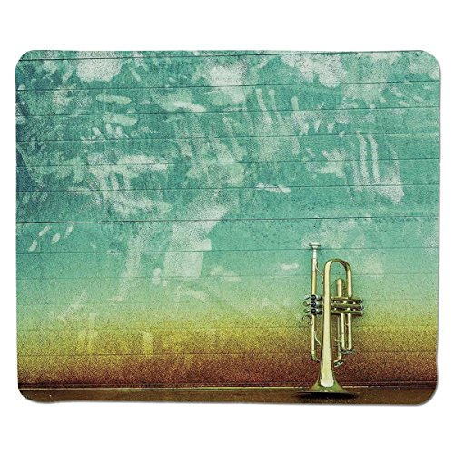 (Mouse Pad Unique Custom Printed Mousepad [ Music Decor,Old Aged Worn Single Trumpet Stands Alone Against a Faded Wall Jazz Music Theme Photo,Sea Green Brown ] Stitched Edge Non Slip Rubber)