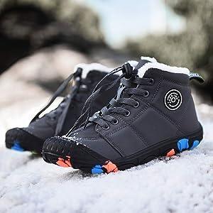 Bottes de Neige Gar/çon Fille Hiver Chaussures de Randonn/ée Enfant Fourrure Baskets Trekking Sport en Plein Air Boots Noir Gris Bleu Rose 30-39