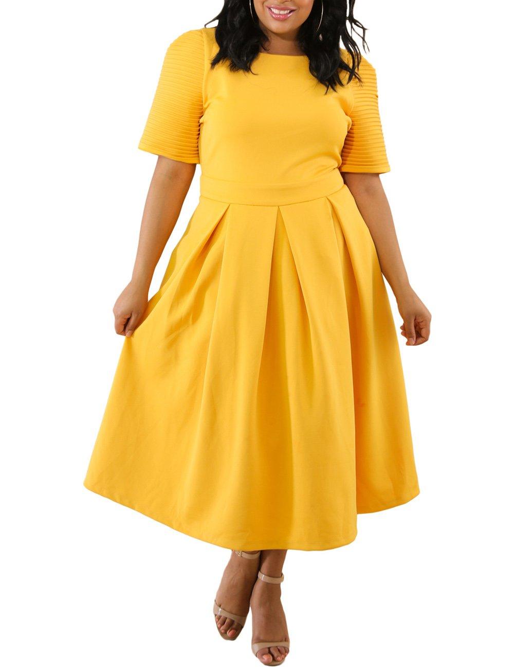 Lalagen Womens Plus Size 1950s Vintage Cocktail Dresses Flare Swing Midi Dress Yellow XXL