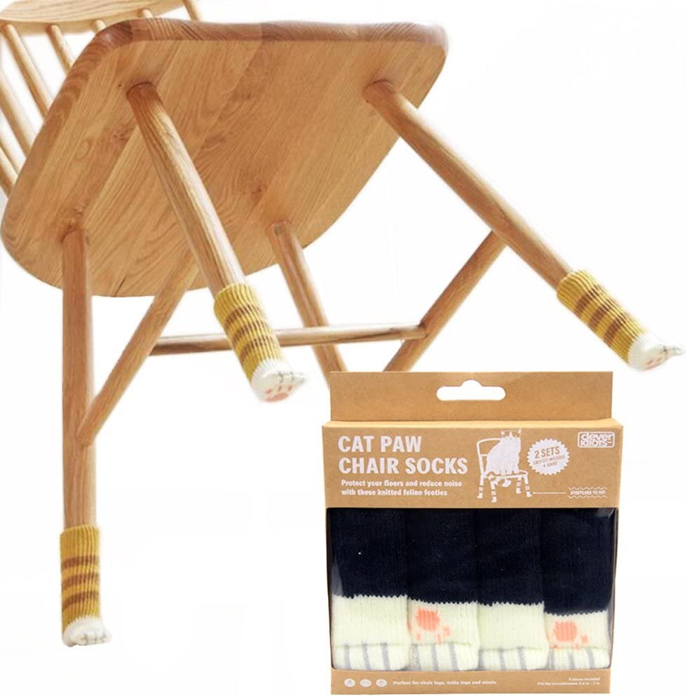 CLEVER IDIOTS INC Cat Paw Chair Socks- Reliable Furniture Socks - Floor Protector- Reduce Noise - 8 Socks per Package, Good for 2 Chairs (Black Cat)