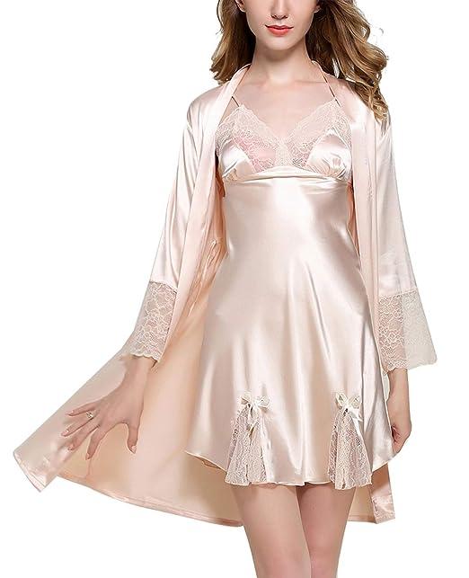 Aivtalk - Vestido de 2 Piezas con Camisón de Seda para Mujer Túnica Artificial Vestido de Manga 3/4 con Encaje Tamaño 32-42: Amazon.es: Ropa y accesorios