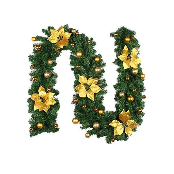 2.7m Ghirlanda di Natale con Pino e Frutti Rossi,Ghirlanda Porta d'ingresso di Natale con Luci a LED,Luminoso Decorazione Natale per Camino Scale Porta Esterno Alimentazione a Batteria (D'oro) 4 spesavip