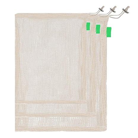 Bolsas de malla de algodón reutilizables, juego de 3 bolsas ...