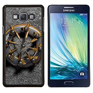 Caucho caso de Shell duro de la cubierta de accesorios de protección BY RAYDREAMMM - Samsung Galaxy A7 A7000 - nave motorista resumen de metal de platino oro