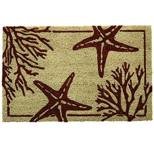 Bacova Guild Coral Starfish Printed Coir Mat