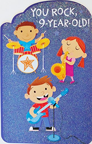 You Rock 9-year Old! Band Music Theme - Happy 9th Birthday Greeting Card - Nine Years Old / Ninth