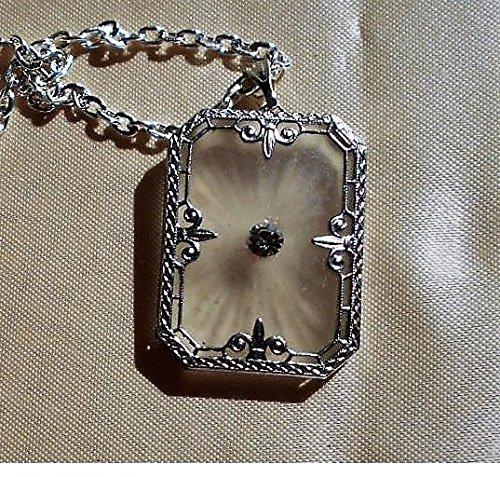 Rhinestone Filigree Settings (1920s Art Deco Vintage Camphor Glass w/ Rhinestone Rhodium Filigree Setting, Silver Plated Fine Necklace. Bridal Jewelry.)