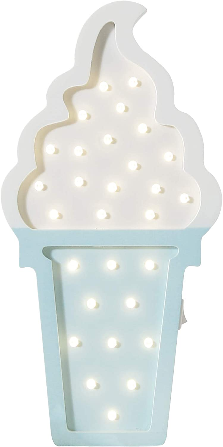 Ice cream Valentine Romance Atmosphere Light , Party Wedding Birthday Party Decoration Kids' Room Battery Operated LED Night Lights (Blue and White)