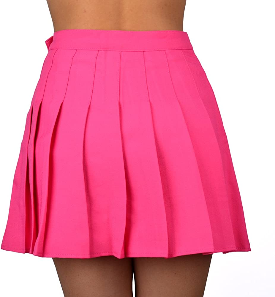 Smilice Women High-Waisted Pleated Mini Skirts with Soft Shorts Underneath Fushia